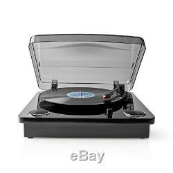 3-Speed Vinyl Turntable Record Player with Built In Speakers Retro Black Look