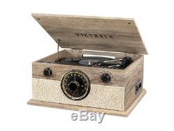 6 In 1 Bluetooth Record Player W 3 Speed Turntable CD Cassette & AM/FM Radio Far