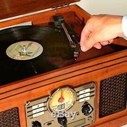 6-In-1 Nostalgic Bluetooth Record Player Vinyl CD Cassette 3-Speed Mahogany