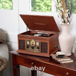 6-in-1 Nostalgic Bluetooth Record Player 3-Speed Turntable CD Cassette FM Radio