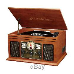 6-in-1 Record Player Speakers 3-speed Turntable Bluetooth Classic CD Cassette
