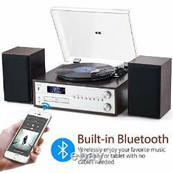 7-in-1 Retro Vinyl Record Player Set HiFi Music Centre With Bookshelf Speakers