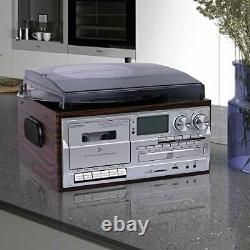 8 in 1 Record Player 3 Speed Bluetooth Vintage Turntable CD Cassette AM/FM Radi