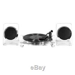 Acrylic Bluetooth 40W Record Player Turntable 2 Speed Speakers Victrola Clear