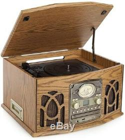 Antique Record Player Classic Music Centre Turntable LP CD Cassettes Radio Mains