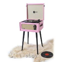 Arkrocket Bluetooth Record Player Retro Portable Turntable Four removable legs