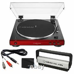 Audio-Technica AT-LP60XBT Stereo Turntable with Bluetooth Red/BK + Record Brush