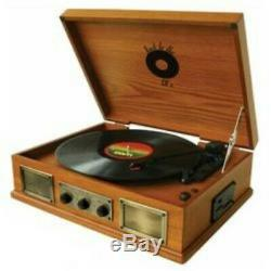 Back To The 50's 3 Speed Wooden Retro Turntable Vinyl Record Player Am/fm Usb/sd