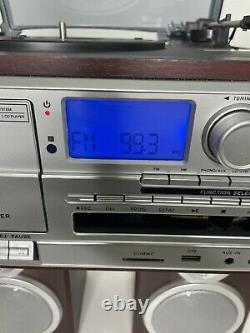 Bluetooth 3-Speed Record Player Turntable CD AM/FM Cassette USB/SD Vinyl to MP3