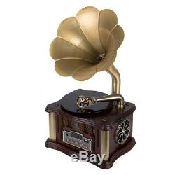 Bluetooth Phonograph Record Player Turntable Vintage Gramophone with Horn T6V5