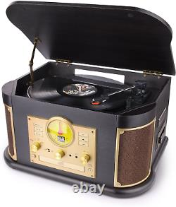 Bluetooth Record Player, Dl Vintage Turntable 3-Speed Vinyl Record Player With 2