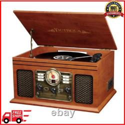 Bluetooth Record Player System with Speakers Turntable AM FM CD Cassette 6-in-1