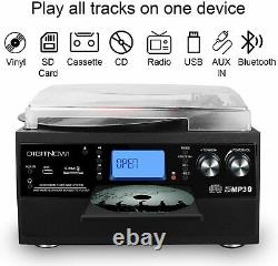 Bluetooth Record Player Turntable LP Vinyl to MP3 Converter with CD Cassette Aux