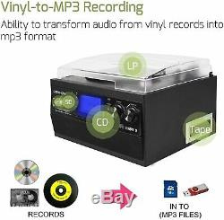 Bluetooth Record Player Turntable Stereo Speaker Vinyl to MP3 CD Cassette Remote