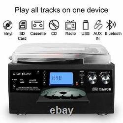 Bluetooth Record Player Turntable with Stereo Speaker, LP Vinyl to MP3 Black