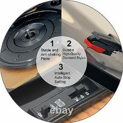 Bluetooth Record Player, VINYL MUSIC ON Record Player with Built-in Speakers, 3