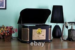 Bluetooth Record Player, Vintage Turntable 3-Speed Vinyl Record Player Multi