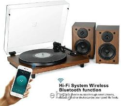 Bluetooth Record Player Wireless Turntable HiFi System Wooden Bluetooth with