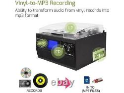 Bluetooth Record Player with Stereo Speakers CD and Cassette Player AM/FM Radio