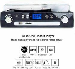Bluetooth Record Player with Stereo Speakers, Turntable for Vinyl to MP3
