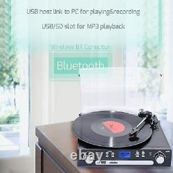 Bluetooth Record Player with Stereo Speakers Turntable for Vinyl to MP3 New