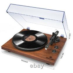 Bluetooth Record Player with Vintage Stereo 2-Speed Solid Iron Platter Walnut Wood