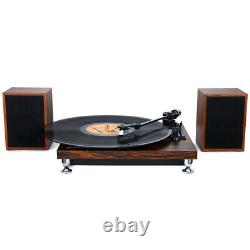 Bluetooth Retro Vinyl Record Player with External Speakers 3 Speed Belt-Driven