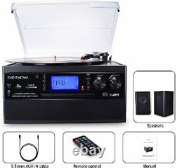 Bluetooth Stereo Record Player Turntable Speaker Vinyl to MP3 CD Cassette Remote