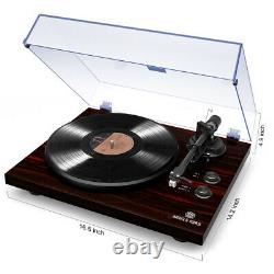 Bluetooth Turntable Stereo Record Player Phono Preamp and Belt Drive Mahogany
