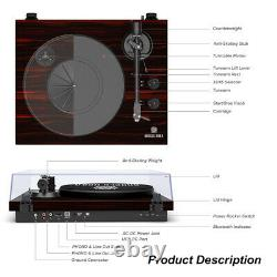 Bluetooth Turntable Stereo Record Player with Built-in 2-Speed Phono Preamp