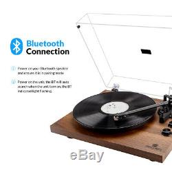 Bluetooth Turntable Vintage Record Player 2-Speed Build-in Stereo Speaker Orange