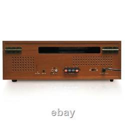 Bluetooth Turntable Vintage Style & 2 Speaker Vinyl/MP3 Recording Wood Color