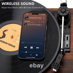 Bluetooth Vinyl Record Player with Dual External Speakers 3 Speed Belt-Driven US