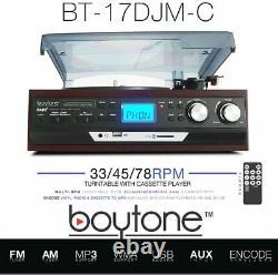 Boytone 3 Speed Record Player Turntable AM/FM Cassette USB/SD AUX MP3 Encoding