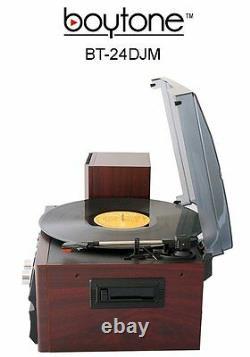 Boytone BT-24DJM Bluetooth Record Player Turntable Stereo CD Cassette Radio NEW