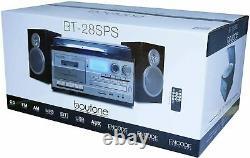 Boytone BT-28SPS Bluetooth Classic Style Record Player Turntable AM/FM Radio CD
