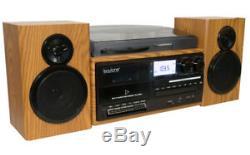 Boytone BT-28SPW 3-Speed Bluetooth Turntable, Record Player, CD, cassette, AM, FM