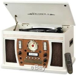 Classic Wooden Record Player Turntable Victrola 7-in-1 Bluetooth Music White