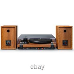 Crosley C62B-WA 2-Speed Bluetooth Turntable Record Player with Speakers Walnut