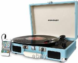 Crosley CR8005D-TU Cruiser 3 Speed Portable Turntable Record Player Turquoise