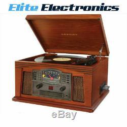 Crosley Lancaster Record Vinyl Turntable CD Cassette Radio Paprika