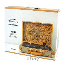 Crosley Medal Brown Record Player 3-Speed Portable Turntable Bluetooth Speakers