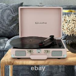 Crosley Pink 3-Speed Stereo Portable Turntable Record Player Bluetooth Speaker