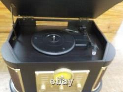 D&L Vintage Record Player, Wooden Turntable, 7-in-1 Bluetooth Phonograph