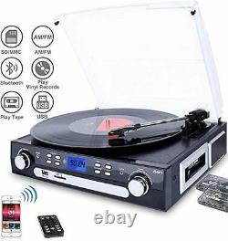 DIGITNOW! Bluetooth Record Player with Stereo Speakers, Turntable for Vinyl to
