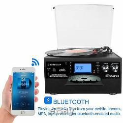 DIGITNOW! Bluetooth Viny Record Player Turntable, CD, Cassette, AM/ FM Radio