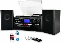 DIGITNOW Bluetooth Viny Record Player Turntable CD, Cassette AM/FM Radio Speaker