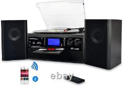 DIGITNOW! Bluetooth Viny Record Player, Turntable for CD, Cassette, AM/FM Radio