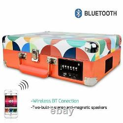 DIGITNOW! Chargable Briefcase Retro Record Player Bluetooth with speakers