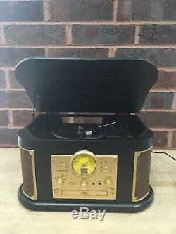 DL Vintage LP Record, CD, RADIO player, Wooden turntable